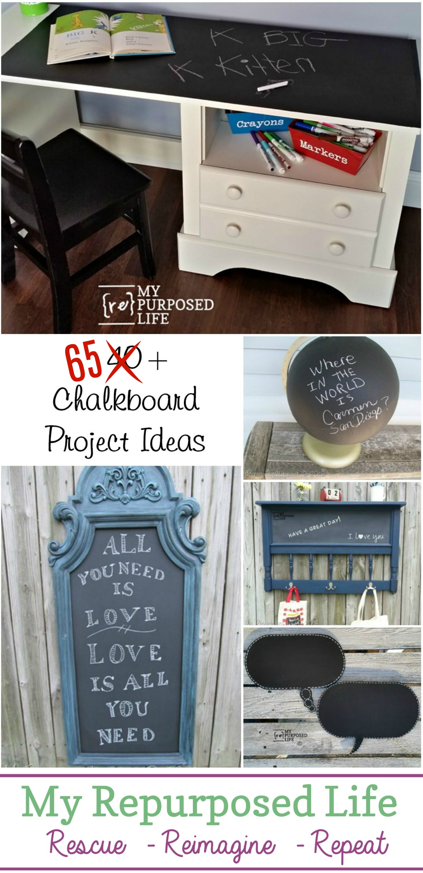 I have a collection of 65+ chalkboard ideas to inspire you to think outside the box with thrift store finds. Maybe you have this stuff already on hand? #MyRepurposedLife #repurposed #chalkboard #project #ideas via @repurposedlife