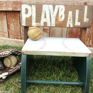 kid's stool baseball theme