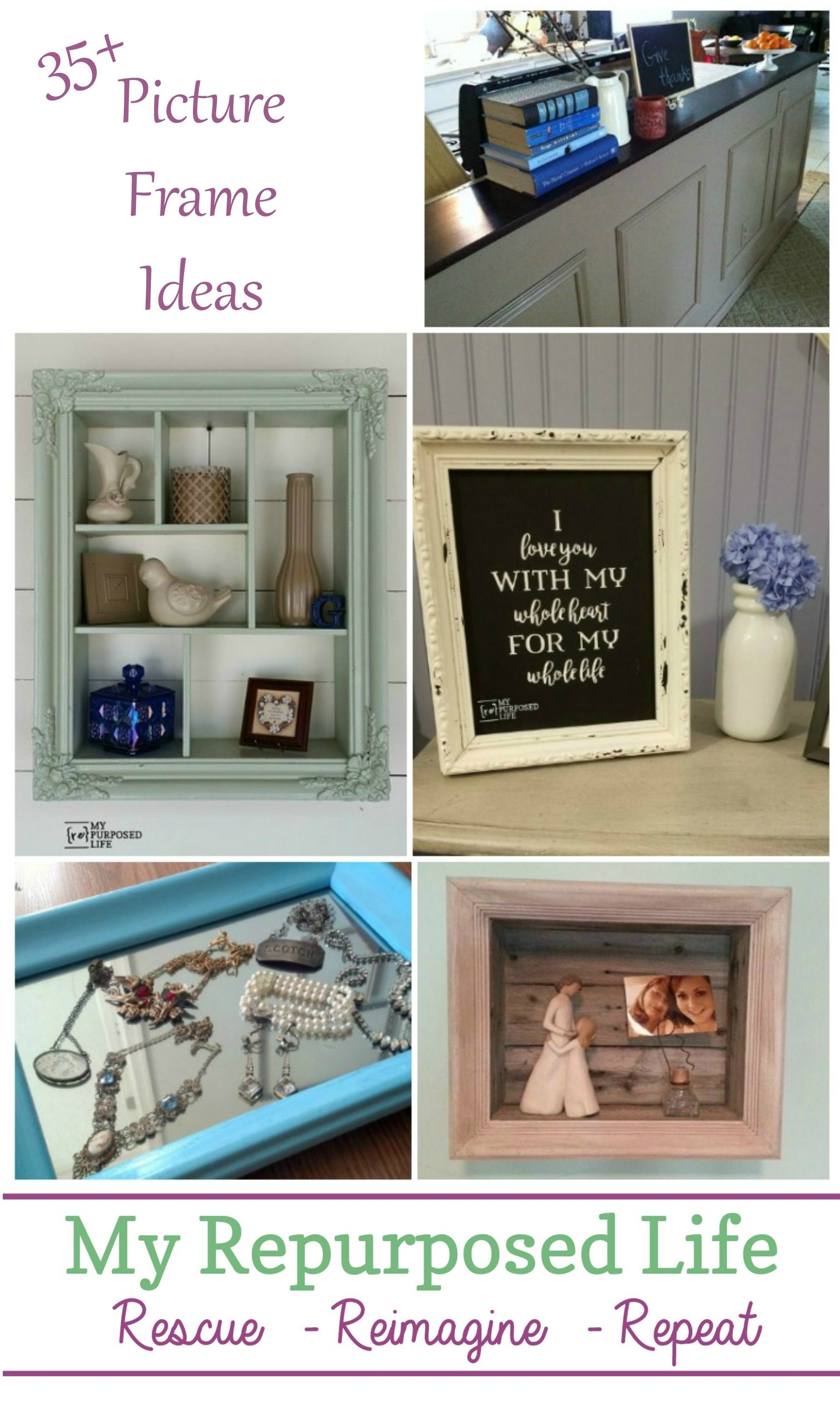 This roundup of picture frame ideas will give you lots of inspiration and ways to repurpose those thrift store picture frames you have hanging around. #MyRepurposedLife #repurposed #picture #frames via @repurposedlife