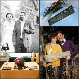 reclaimed wood wedding signs