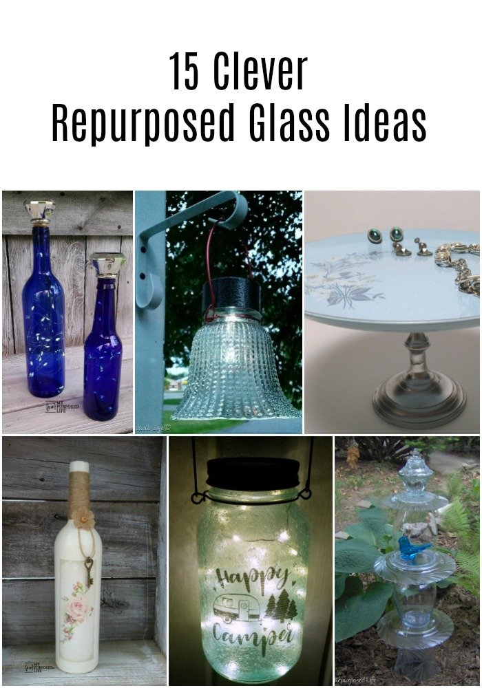 This collection of repurposed glass ideas will inspire you to pick up some glassware at the thrift store or a yard sale. Easy gift ideas. #MyRepurposedLife #repurposed #glass #glassware #ideas #plates #cups #diy #projects via @repurposedlife