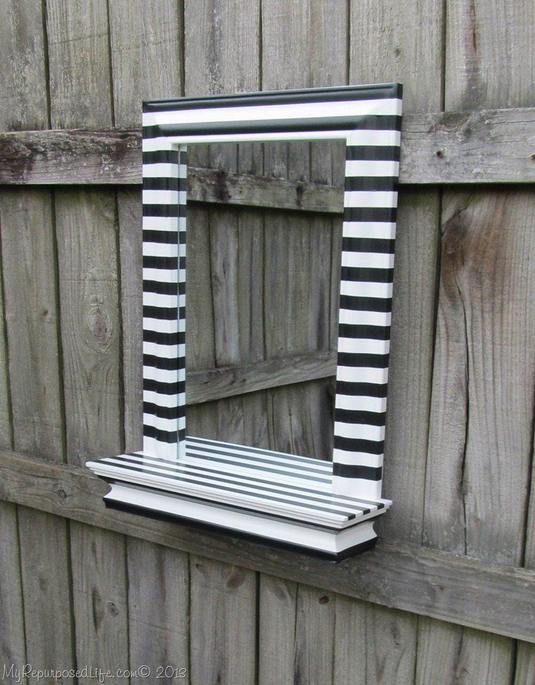 black and white mirror wayfair blogger challenge my repurposed life. Black Bedroom Furniture Sets. Home Design Ideas