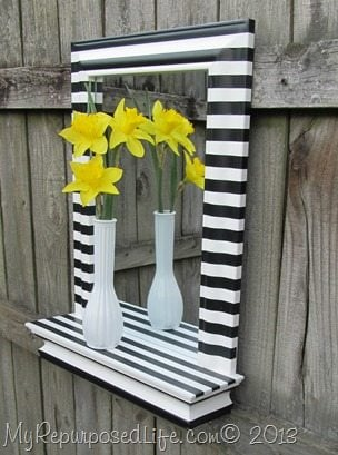 Black & White Stripe Mirror Shelf Daffodils