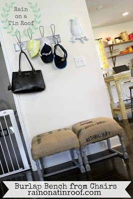Burlap Bench from Chairs
