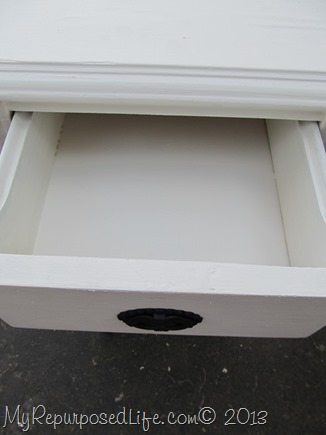 I painted the inside of the drawers