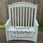 Repurposed Crib into Toy Box Bench