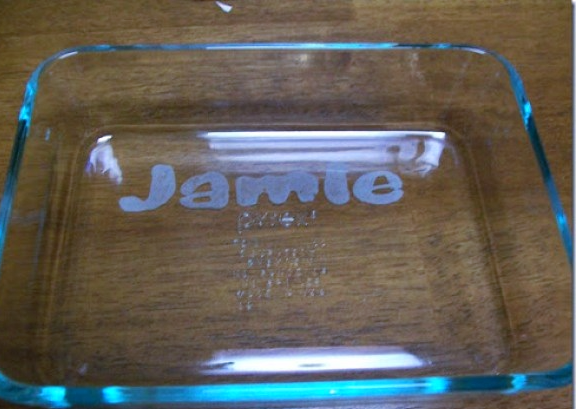 etched baking dish gift idea