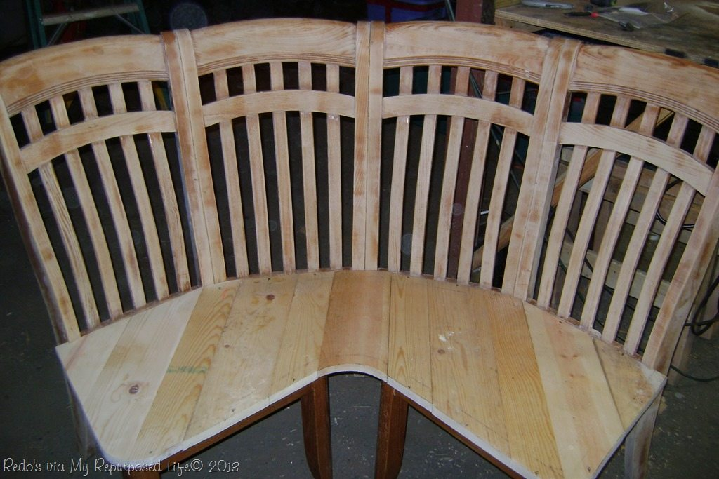corner bench Repurposed chairs make a great