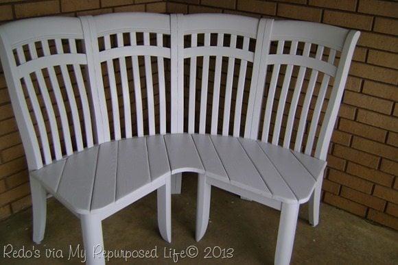 white corner bench