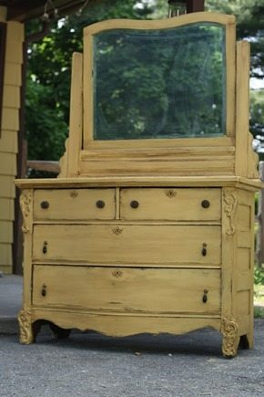 glazed yellow dresser