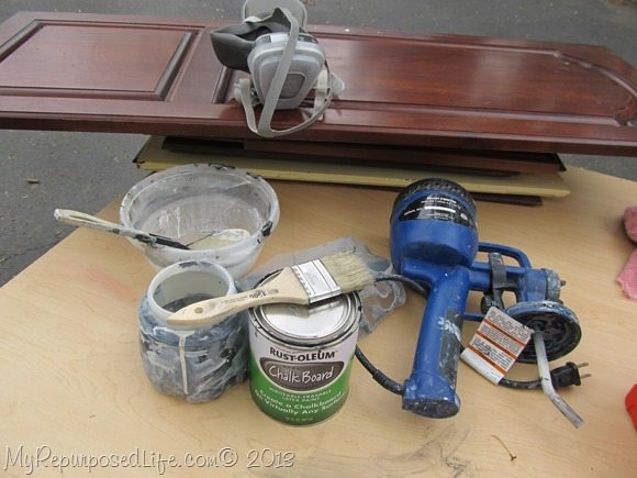 supplies for spraying chalkboards