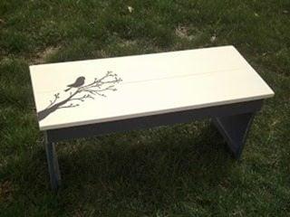 sweet hand painted bird (bench)