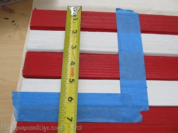 use painter's tape to section the blue