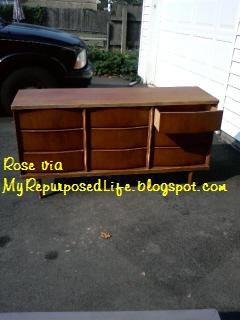 Fabric Decoupaged Dresser