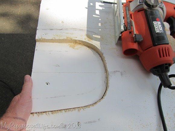 I used a jigsaw to cut the mouse hole
