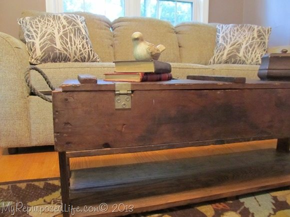 coffee table from vintage ammo box