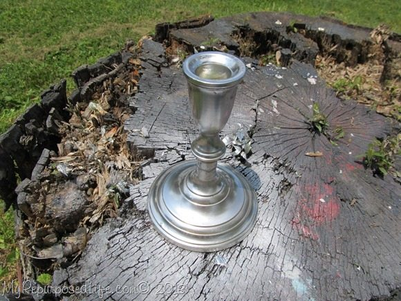 spray painted brass candlestick