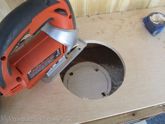 cut the hole with a jigsaw