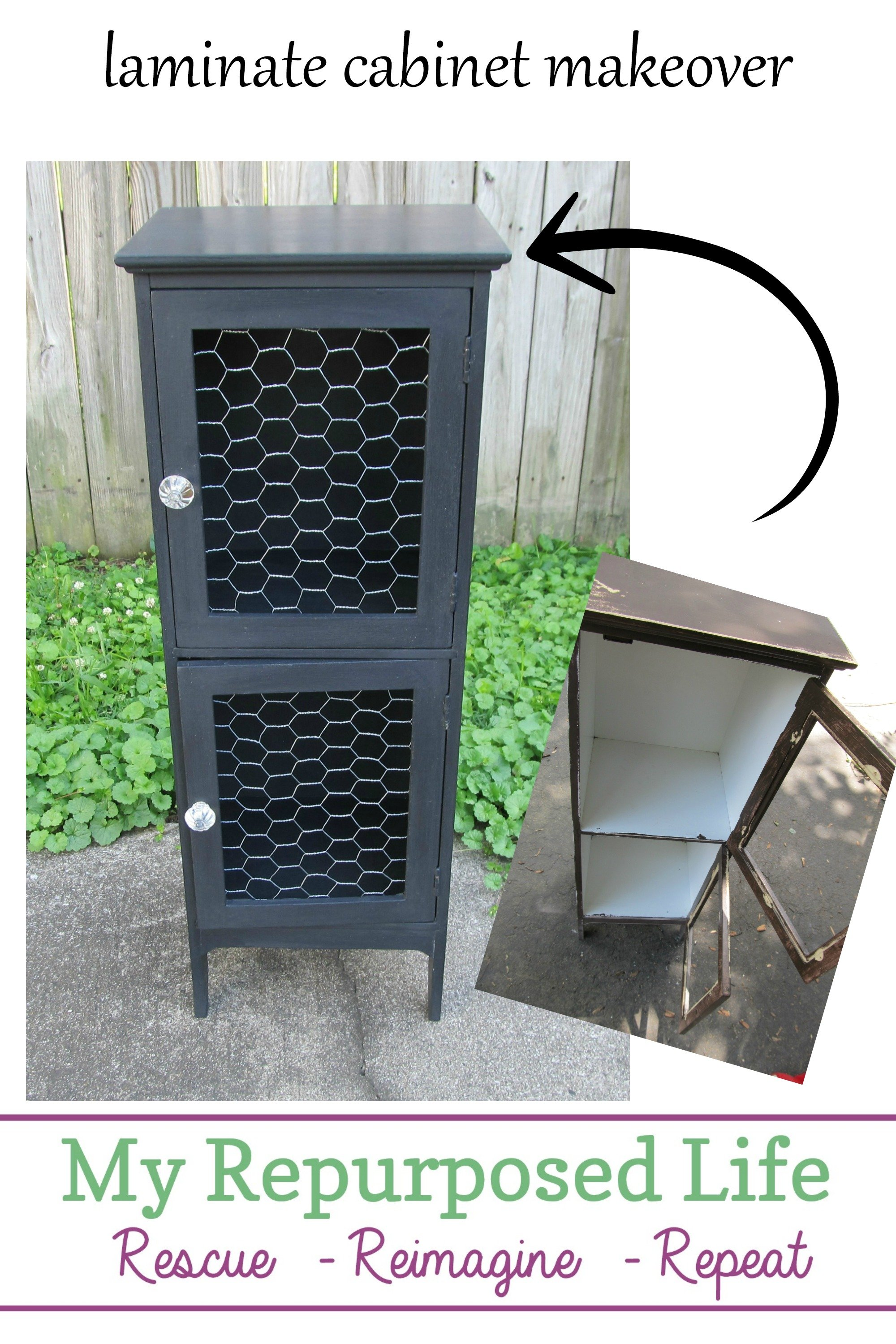 Someone tried to rescue this laminate cabinet, but they didn't know the tricks of the trade! A very inexpensive makeover using paint and chicken wire you may already have on hand. #MyRepurposedLife #repurposed #furniture #makeover #laminate #cabinet  via @repurposedlife