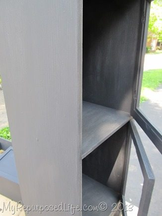 small cabinet makeover painted with primer