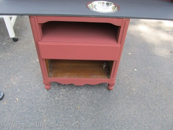red nightstand repurposed