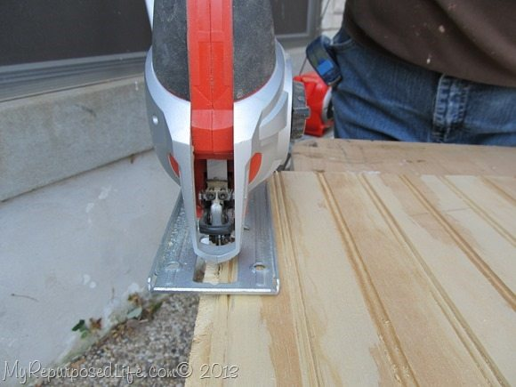 using the jigsaw to trim the bead board