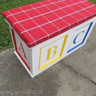 toy box made from repurposed cabinet doors