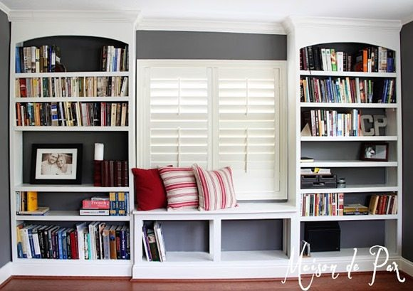 office builtin bookshelves