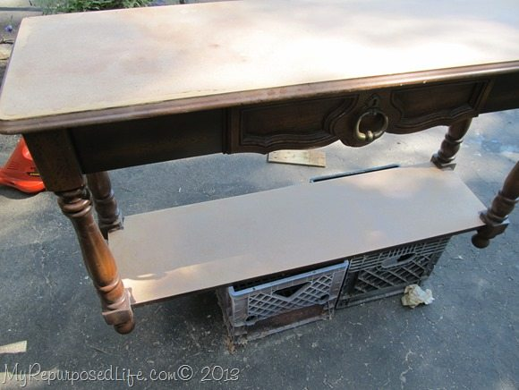 sofa table in rough shape