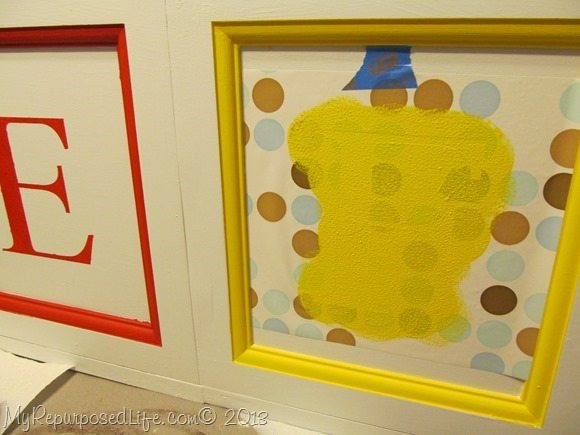 stenciling faux ABC blocks