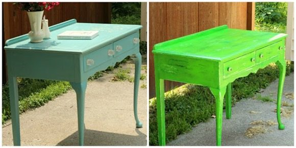 turquoise desk makeover to green