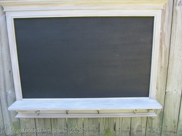 weathered gray faux mantel chalkboard