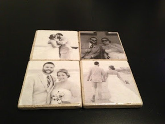 wedding photo coasters