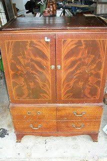 vintage radio cabinet repurposed