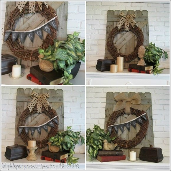 Rustic Wooden Gate Mantel Decor