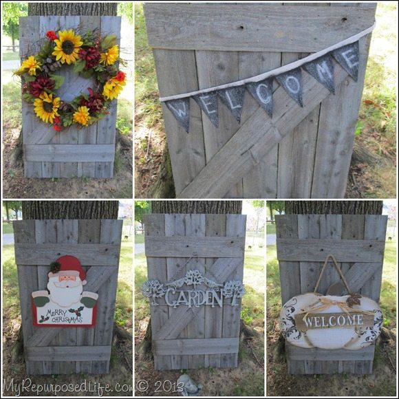 faux barn door collage