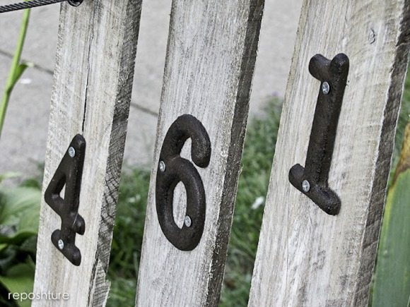 house numbers on pallet boards