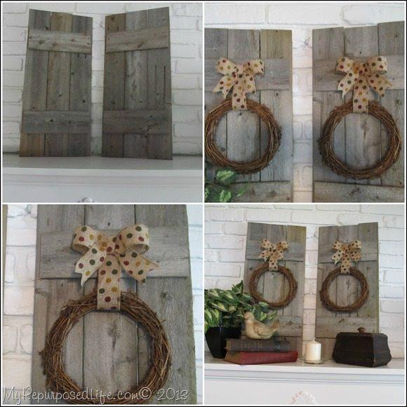 rustic faux shutters mantel decor
