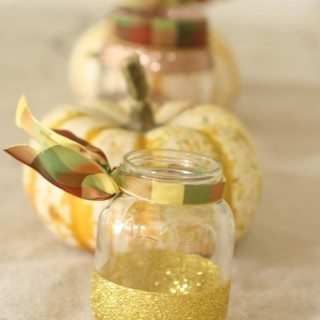 DIY Glittered Jars {candle holders}