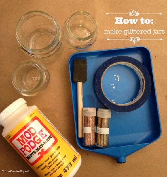 Supplies for DIY glitter jars