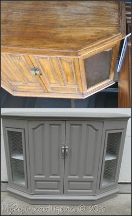 Before and after of console table