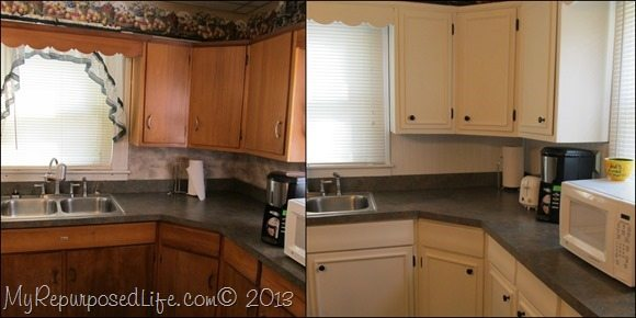 Kitchen cabinets updated with paint trim my repurposed for Cabinets before and after