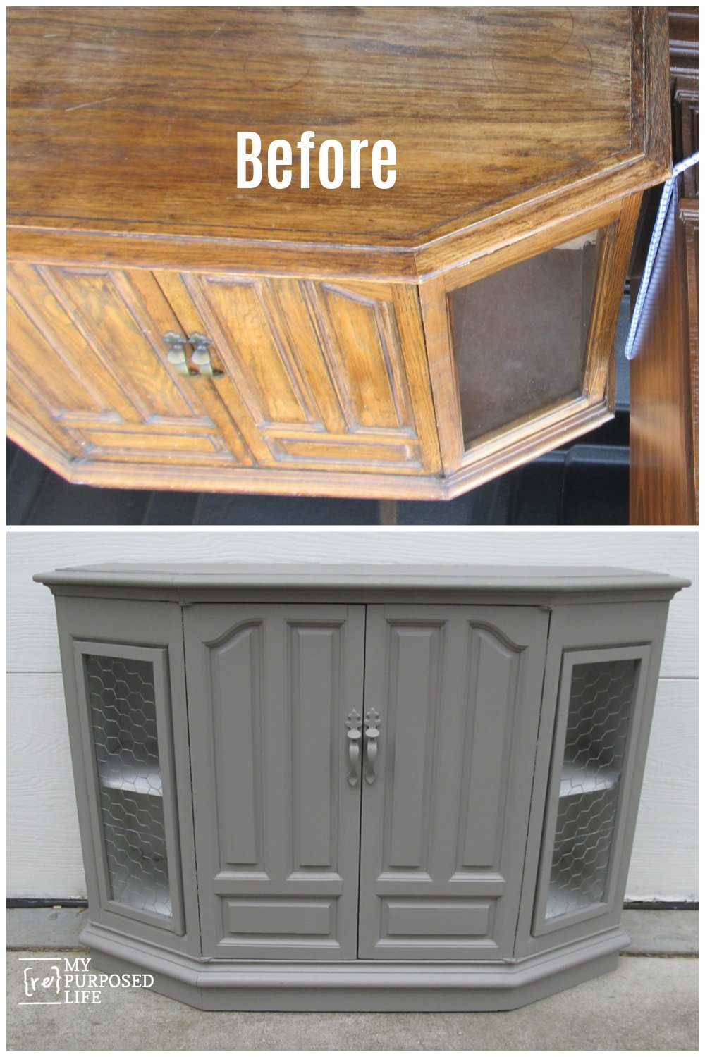You won't believe this awesome plastic cabinet makeover. Maybe you call it a console? It's one of those plastic pieces made to look like wood. #MyRepurposedLife #repurposed #furniture #makeover #plastic #cabinet #painted #furniture via @repurposedlife