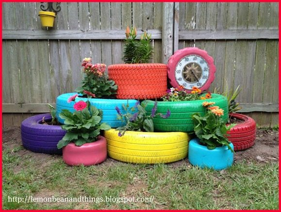 The power of spray paint my repurposed life - Painted tires for flowers ...