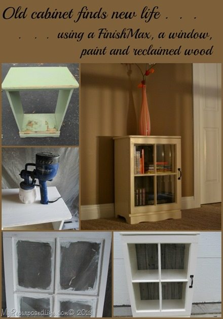 Repurposed Nightstand with Repurposed Window door My