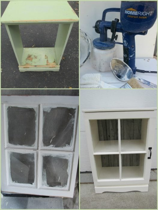 how to turn an old ugly nightstand into a pretty and useful book cabinet and display case