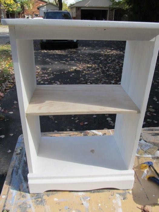 add a shelf to repurposed nightstand
