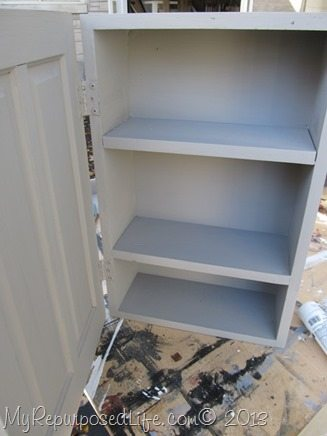 gray wall cabinet