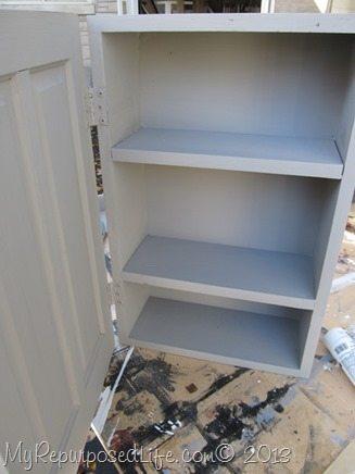 gray wall cabinet