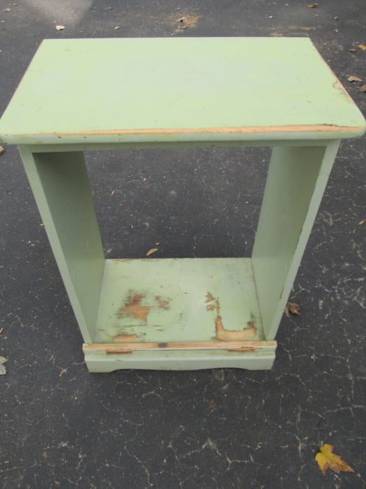 green upcycled nightstand